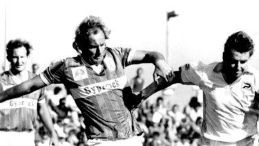 Glory days: Two Socceroos skippers, Marconi's Tony Henderson (left) and Hakoah's John Kosmina, clash in 1986.