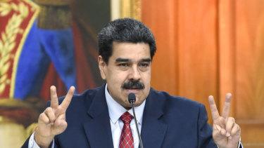 Nicolas Maduro gestures while speaking during a televised press conference in Caracas last week.