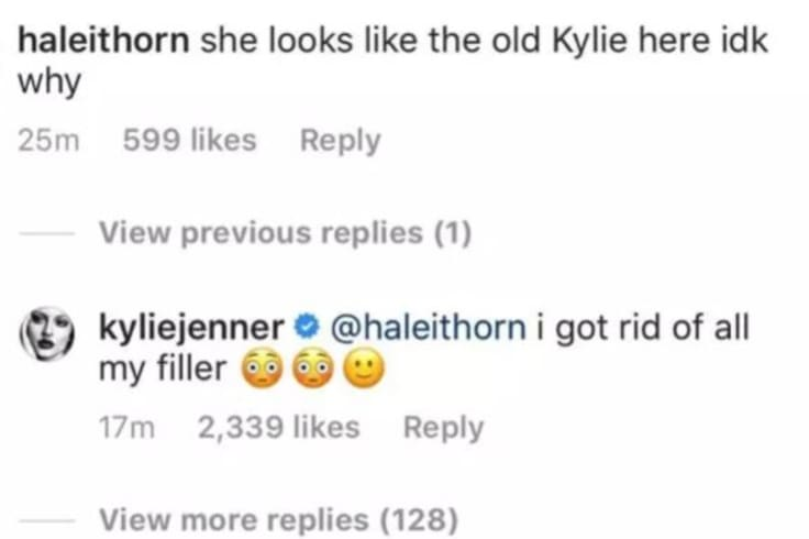 Comments from Kylie Jenner\'s Instagram