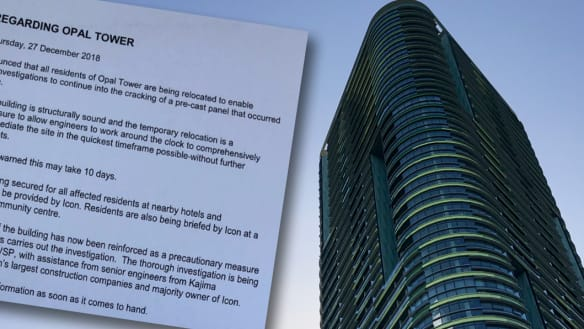 Residents have been asked to leave the beleaguered Opal Tower while investigations are carried out