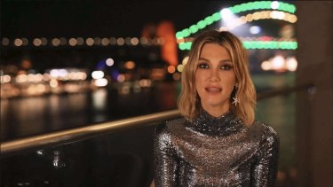 Singer Delta Goodrem speaking at the 2021 G'Day USA AAA arts gala.