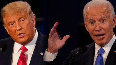 President Donald Trump and Democratic presidential candidate Joe Biden participate in the final presidential debate in Nashville, Tennessee.