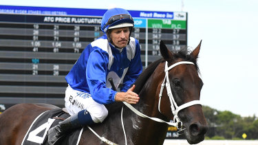 Mare is a dream: Hugh Bowman returns to the mounting yard with Winx.