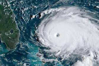 Hurricane Dorian at Category 5 intensity approaching the north-western Bahamas early on Sunday morning.