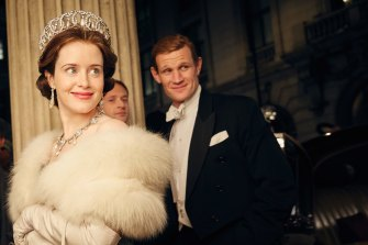 Always in the background: Prince Philip (Matt Smith) reluctantly learns he must always play second fiddle to Queen Elizabeth (Claire Foy) in The Crown.