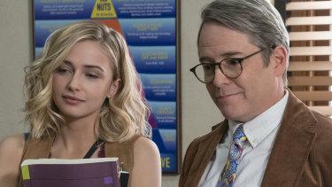 Pop culture nod to Ferris Bueller's Day Off: Matthew Broderick, right, stars in Daybreak, with Sophie Simnett.