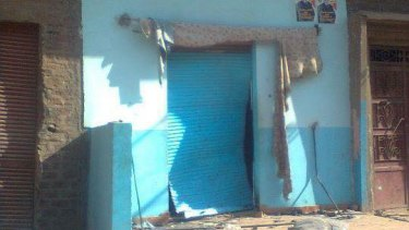 Michael Ramzy's phone store that was gutted by Muslim extremists in Al Gharizat, Egypt, in 2011.