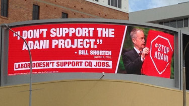Coalition billboard in Townsville showing Bill Shorten in an image some say is misleading.