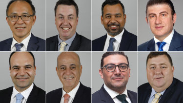 The City of Parramatta councillors who voted for Mark Stapleton. Top, from left to right: Paul Han, Andrew Jefferies, Sameer Pandey, Benjamin Barrak. Bottom, left to right: Martin Zaiter, Pierre Esber, Steven Issa, Bill Tyrrell.
