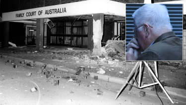 The Family Law Court bombing in Parramatta in 1984, and inset, Leonard John Warwick in 2018.