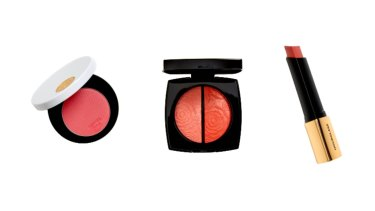 Hermès Silky Blush Powder in  Rose Pommette, $110.  Chanel Blush and Highlighting Duo, $100.  Hourglass Blush Stick in Sacred, $72.