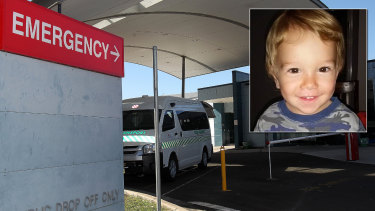 Nowra toddler Troy Almond (inset) and Shoalhaven Hospital.