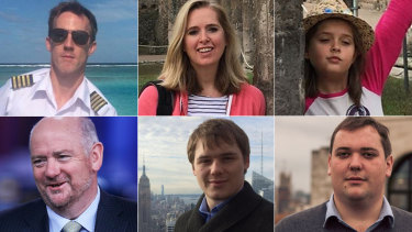 The Sydney Seaplane crash into Jerusalem Bay claimed the lives of (top row) pilot Gareth Morgan, Emma Bowden, her daughter Heather, (bottom row) British chief executive Richard Cousins and his sons Edward and William.
