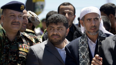 Mohammed Ali al-Houthi, centre, head of the Houthis' Supreme Revolutionary Committee, Yemen.