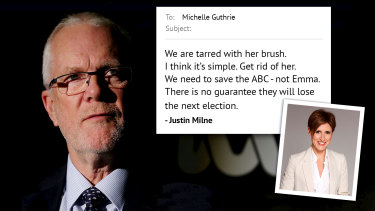 """ABC chairman Justin Milne told former managing director Michelle Guthrie to """"get rid of"""" high-profile presenter Emma Alberici."""