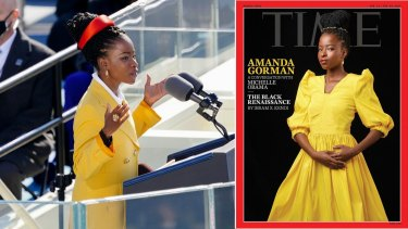 Amanda Gorman at the Presidential inauguration (left) and on the cover of Time magazine.