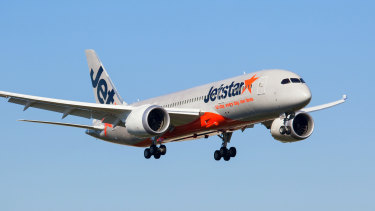 A Jetstar 787, similar to the one pictured, suffered engine problems while on descent into Osaka on Friday.