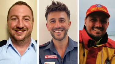 NSW SES volunteer Simon Merrick, Victorian paramedic Steven Gelagotis and Queensland lifesaver Kyal Thornton are among eight emergency services workers whose voices will be used with Hawk-Eye line technology at the Australian Open in 2021.