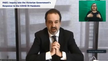 Jobs Minister Martin Pakula answered questions on his department's involvement in quarantine hotels on Wednesday.