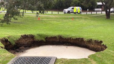 A sinkhole opened up in Kew on Wednesday.