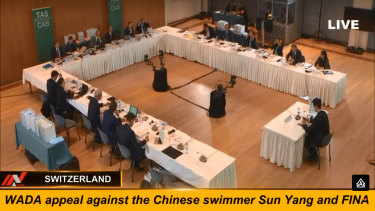 The Court of Arbitration for Sport hears the appeal filed by WADA against Sun Yang and FINA.