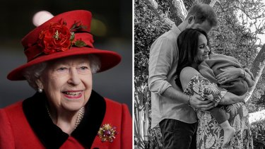 The queen recently attending an event; Prince Harry and Meghan Markle announcing they were expecting Lilibet.