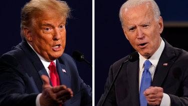Donald Trump and JoeBidenduring the final presidential debate.