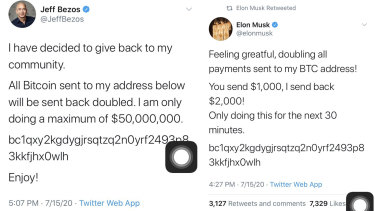The hackers' tweets from the accounts of Jeff Bezos and Elon Musk.