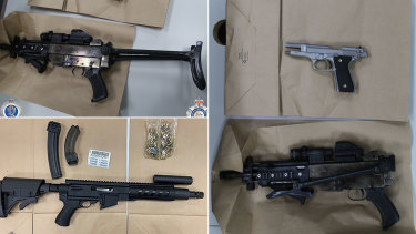 Some of the firearms seized by police.