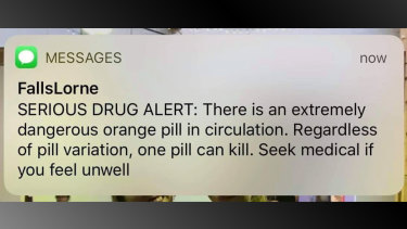 The text message alert received by patrons at Lorne Falls Festival on Sunday.