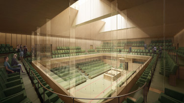 An artist's impression of the purpose-built temporary Commons chamber.