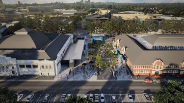 An artist's impression of what the revamped Hordern Pavilion and Royal Hall of Industries sports and entertainment precinct.