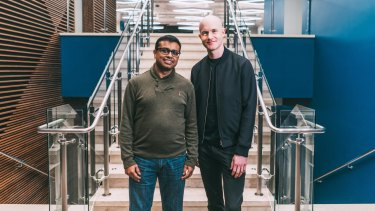 Coinbase chief product officer Surojit Chatterjee with CEO and co-founder Brian Armstrong.