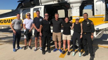 Ivan Cleary and Cameron Ciraldo with the LA County Fire Department last October.