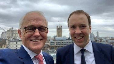 Former prime minister Malcolm Turnbull with Tory leadership contender Matt Hancock.