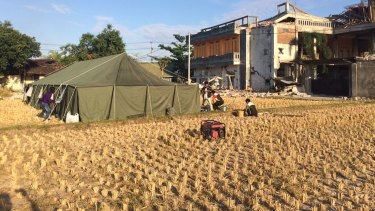 This tent is the HQ of the Pelita Foundation as it sets up pop up schools in Lombok.