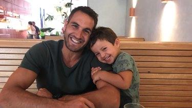 Sydney Swans captain Josh Kennedy with his son Emilio.