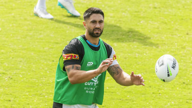 Shaun Johnson took the club exercise bike from the club gym, as players prepare for isolated training.