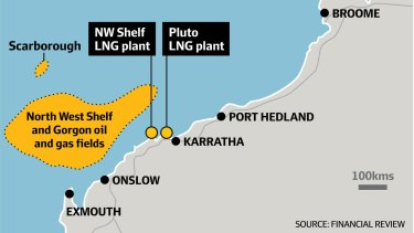 The locations of the Scarborough gas field and Pluto plant.