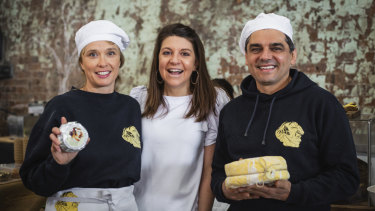 Melissa Altman, Leigh O'Neill and Pierre Issa (Pepe) at the Carriageworks market.
