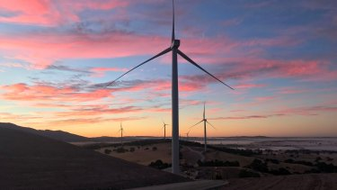 A wind farm near Ararat in western Victoria. Growth in large-scale renewables provided Victoria with a big jump in jobs.