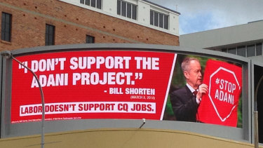 The Coalition billboard in Rockhampton showing Bill Shorten in an image some say is misleading.