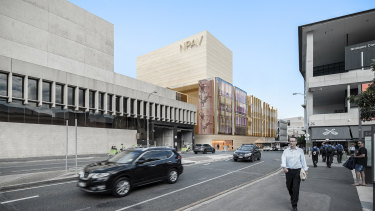 The facade of the new performing arts theatre would complement the brutalist style of Robin Gibson.