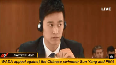 Chinese swimmer Sun Yang appears at the hearing in Montreux, Switzerland.