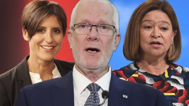 """Wordsmith: Justin Milne (centre) wanted Michelle Guthrie (right) to sack Emma Alberici (left), so he suggested she explore """"external career development opportunities""""."""