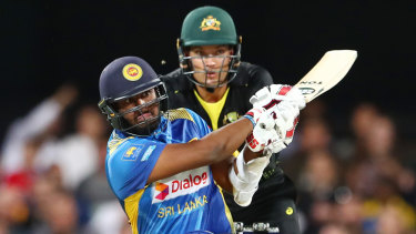 Avishka Fernando hits out at the Gabba.