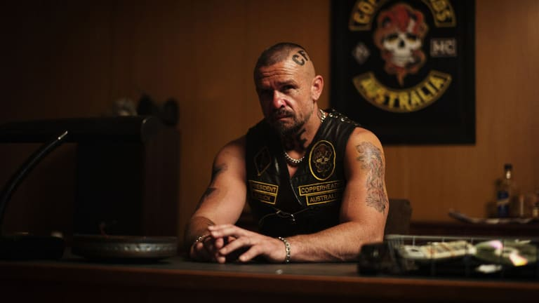 Matt Nable as gang leader Knuck in the bikie drama <i>1%</i>.