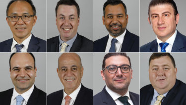 The City of Parramatta councillors that voted for Mark Stapleton. Top, L-R: Paul Han, Andrew Jefferies, Sameer Pandey, Benjamin Barrak. Bottom L-R: Martin Zaiter, Pierre Esber, Steven Issa, Bill Tyrrell.