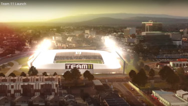 An artist's impression of the proposed new stadium in Dandenong, from Team 11's failed A-League bid.