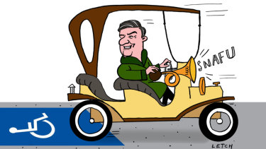 Car crash television: Mr Magoo lives on with Eddie McGuire. Illustration: Simon Letch